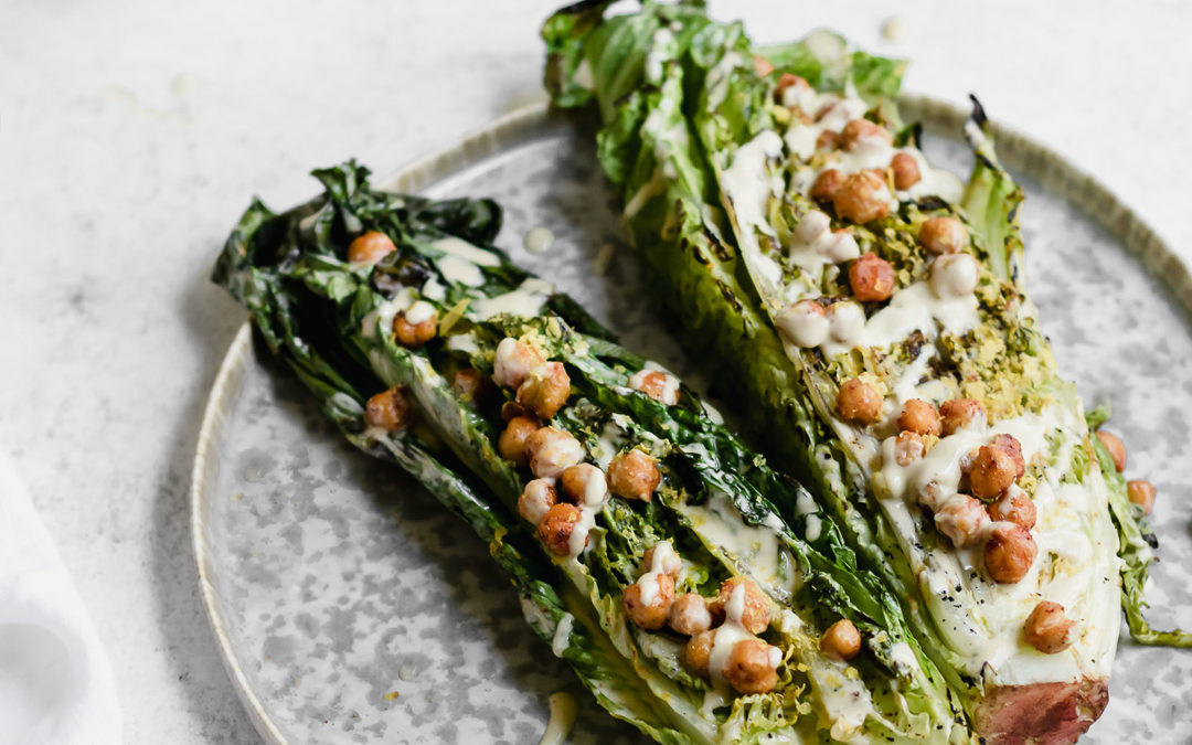 Grilled Caesar Salad with Spiced Chickpeas and Tahini Dressing